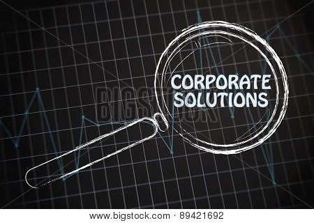 Corporate Solutions, Magnifying Glass Focusing On Business Performance Graph