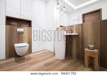 Wooden Bathroom In Luxury House