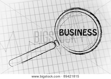 Business Performance, Magnifying Glass Focusing On Business Performance Graph
