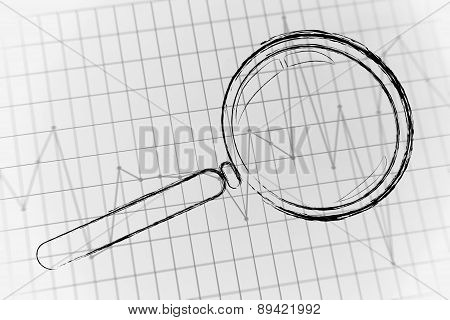 Magnifying Glass Focusing On Business Performance Graph