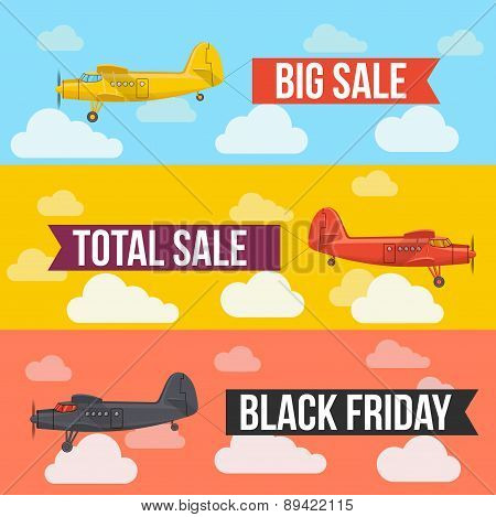 Sale banners. Flat styled vector illustration