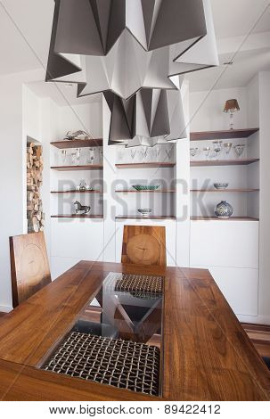 Designed Pendant And Wooden Table
