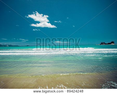 travel concept - sandy beach at summer sunny day