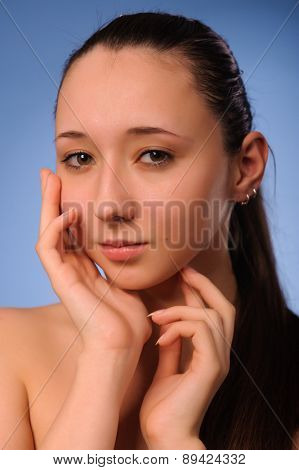 Close up shot of beauty woman after bathing