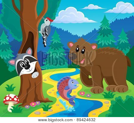 Forest animals topic image 5 - eps10 vector illustration.