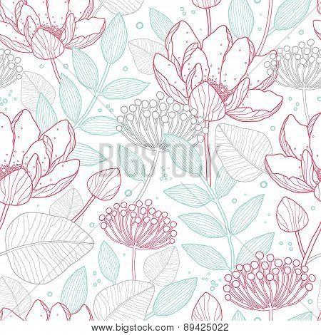 Vector modern line art florals seamless pattern background