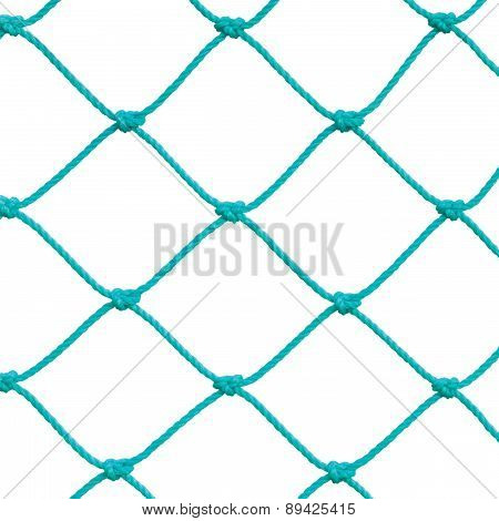 Soccer Football Goal Post Set Net Rope Detail, New Green Goalnet Netting Ropes Knots Pattern, Macro