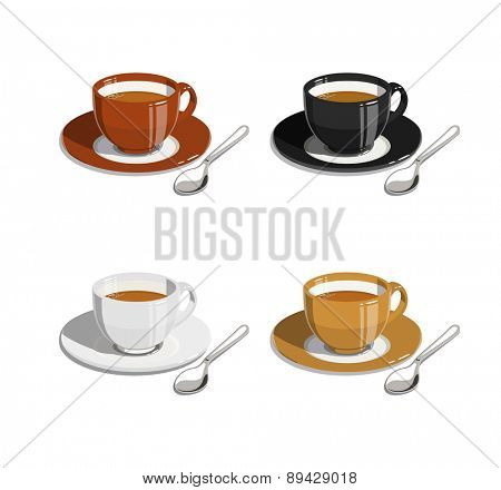 Cup of coffee. Set of  Eps10 vector illustrations. Isolated on white background