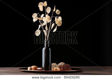 Composition of dried flower on dark background