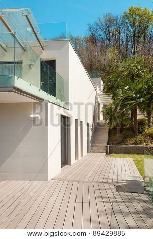 architecture, modern white house, view from the patio, outdoor