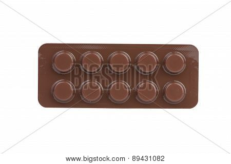 Closed Up Brown Blister Pack