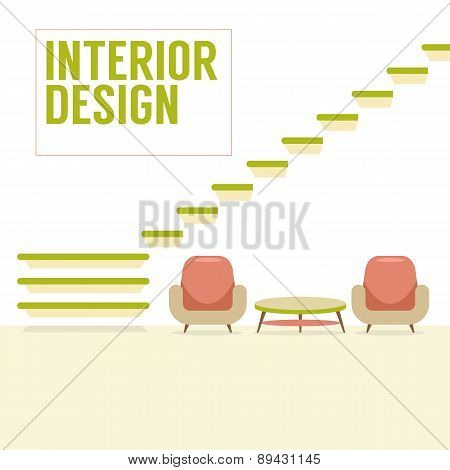 Interior Design Stairs With Chairs Set.