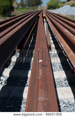 Many Rails For A Railroad Track Installation