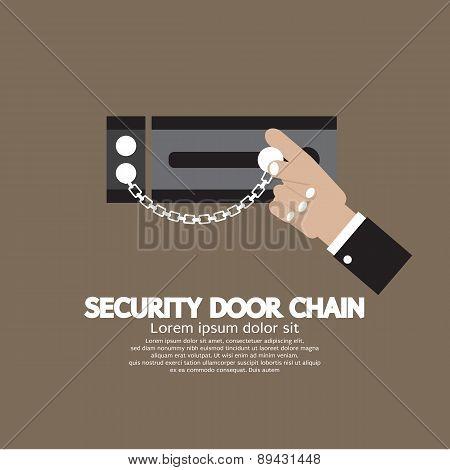 Hand With Security Door Chain.