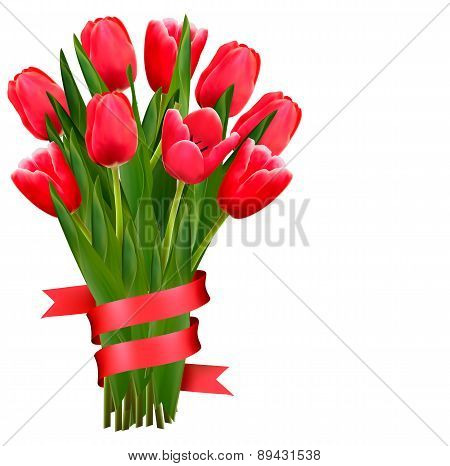 Celebration Background With Red Tulips And Ribbons. Vector.