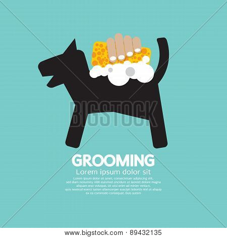 Dog Shower With Soap And Sponge Pet Grooming Concept.