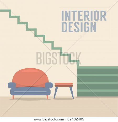 Interior Design Stairs With Sofa.