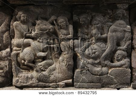 Stone bas relief from the Prambanan Temple near Yogyakarta, Central Java, Indonesia.