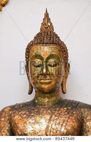 Close Up Old Gold Buddha Statue