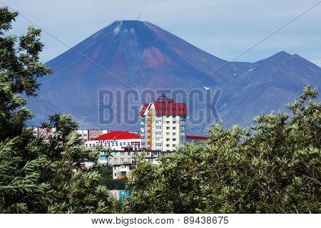 Petropavlovsk-Kamchatsky City And Avacha Volcano. Far East, Russia