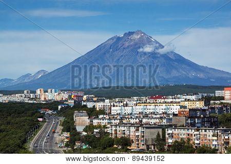 Petropavlovsk-Kamchatsky City And Koryak Volcano. Far East, Russia