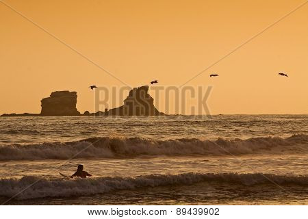 Unidentified tourist surfer enjoying the sea during sunset, Puerto Lopez, Ecuador