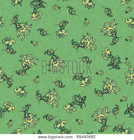 seamless green floral pattern.