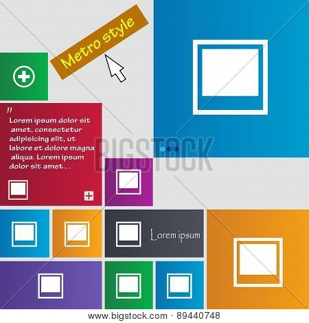 Photo Frame Template Icon Sign. Metro Style Buttons. Modern Interface Website Buttons With Cursor Po