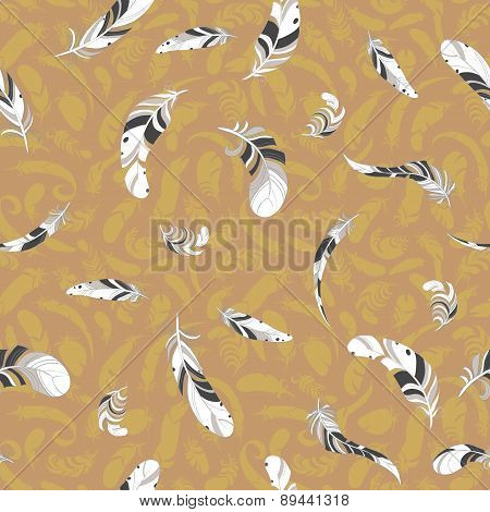 flying cartoon feathers seamless pattern.
