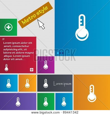 Thermometer, Temperature Icon Sign. Metro Style Buttons. Modern Interface Website Buttons With Curso