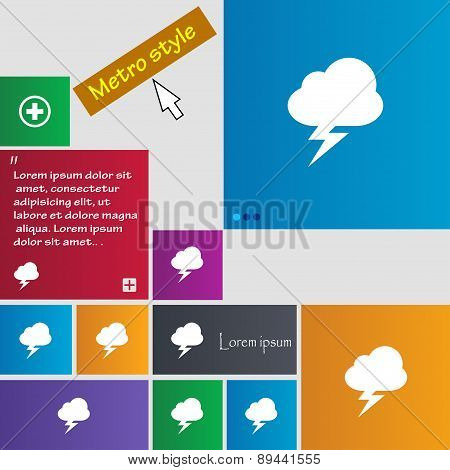 Storm Icon Sign. Metro Style Buttons. Modern Interface Website Buttons With Cursor Pointer. Vector