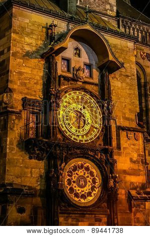 Night View On Astronomical Clock In The Old Town Of Prague