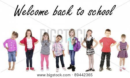 Schoolchildren isolated on white