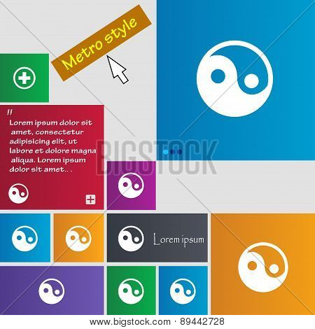 Ying Yang Icon Sign. Metro Style Buttons. Modern Interface Website Buttons With Cursor Pointer. Vect