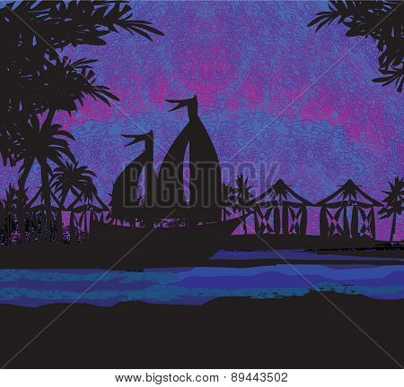 Tropical Landscape At Night