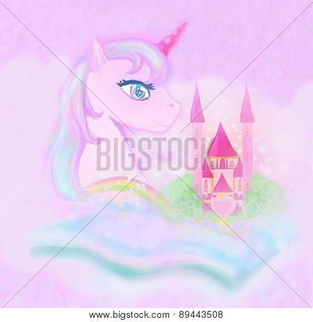 Cute Unicorn Rainbow And Fairy-tale Princess Castle