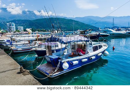View On Boats On Embankment In Montenegro