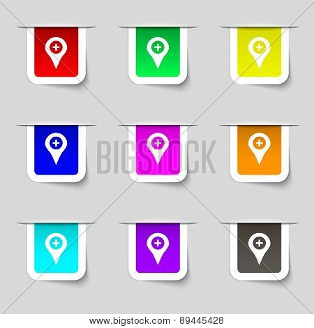 Plus Map Pointer, Gps Location Icon Sign. Set Of Multicolored Modern Labels For Your Design. Vector