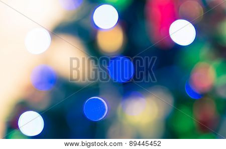 Blur Bokeh Of Decoration Light On Christmas Tree