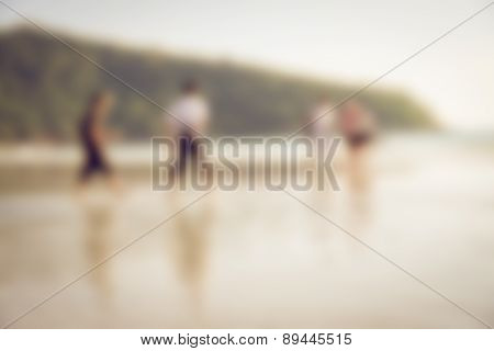 Blur Of Beach Life With  Unrecognized People