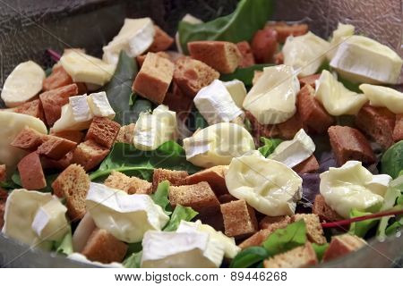 Salad With Croutons And Cheese Brie