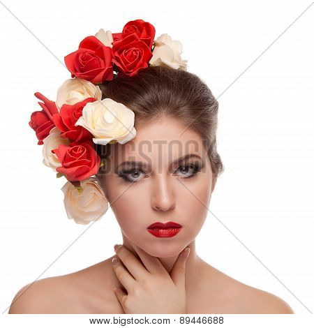 Beautiful Girl With Red Lips And Flowers In Head
