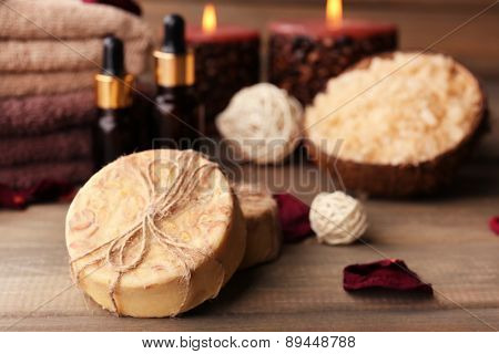 Spa still life on wooden background