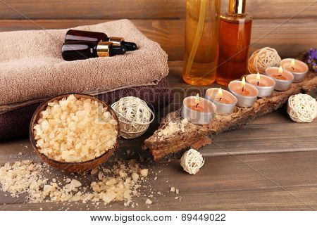 Spa still life on wooden planks background