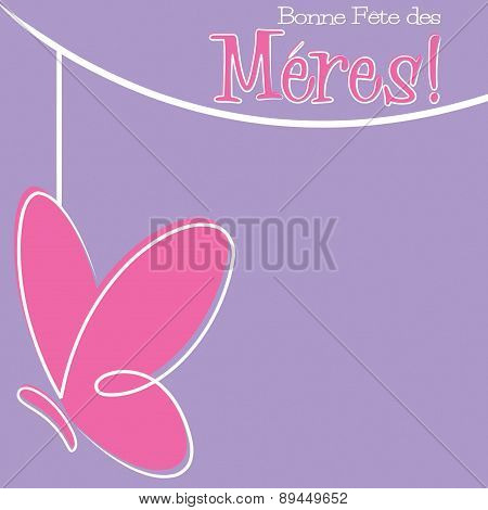Hand Drawn French Happy Mother's Day Card In Vector Format.