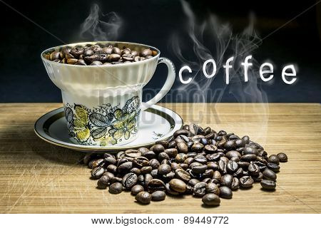 Cup With Steaming Roasted Coffee Beans On A Wooden Surface