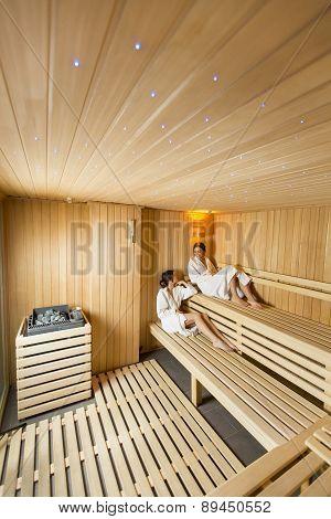 Young Women In Sauna