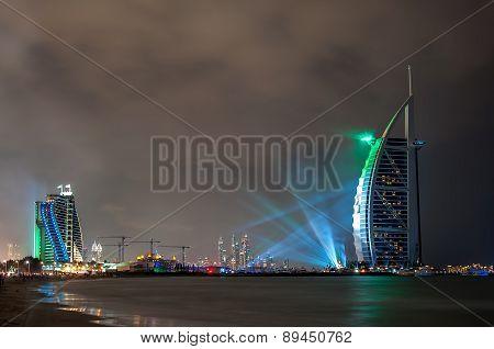 UAE 43rd National Day 2014 celebration and Fireworks show at Burj al Arab