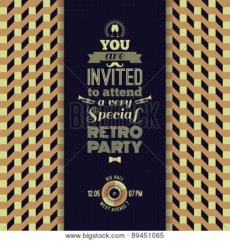 Invitation To Retro Party. Vintage Retro Geometric Background.