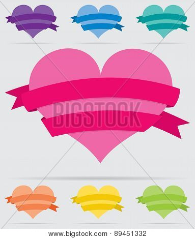 Heart With Ribbon Set In Vector Format.